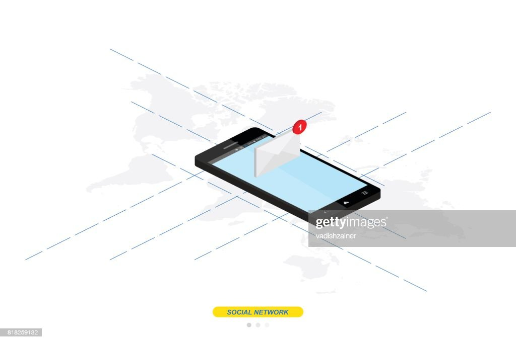 3d isometric concept new message notification icon in smartphone 3d isometric concept new message notification icon in smartphone against the background of the world gumiabroncs Choice Image