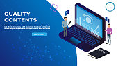 Isometric concept of Quality Content decorated with people character for website and mobile website development. Isometric landing page template. Vector illustration.