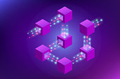 Isometric concept of quantum computers, blockchain, IT technology or coding. Information blocks in cyberspace. Decentralized network. Vector illustration