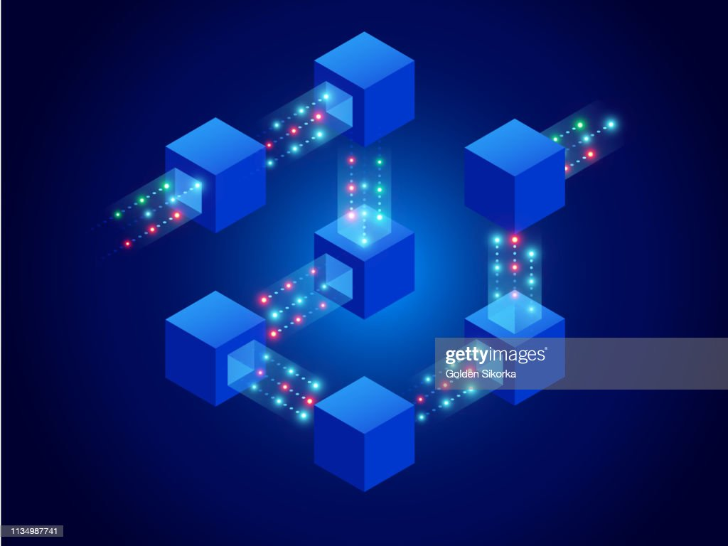 Isometric concept of quantum computers, blockchain, IT technology or coding. Information blocks in cyberspace. Decentralized network. Vector illustration : stock illustration