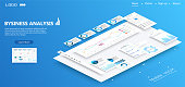 Isometric conceptual page website with disassembled user interface. Ui, Ux