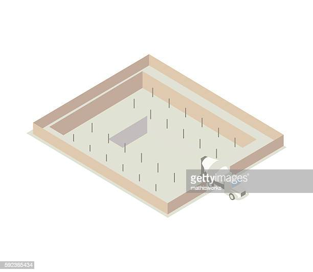 isometric concrete foundation illustration - mathisworks architecture stock illustrations