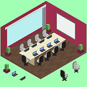 Isometric conference room with laptop, table, armchairs