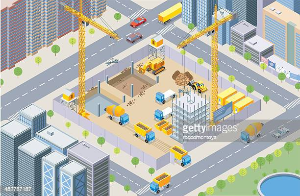 isometric, construction site - foundation stock illustrations, clip art, cartoons, & icons