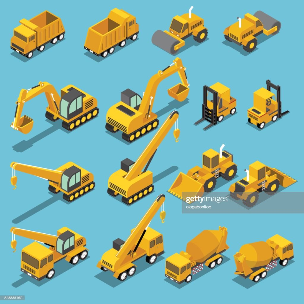 Isometric construction transport icon set