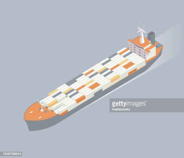 isometric container ship illustration - mathisworks stock illustrations