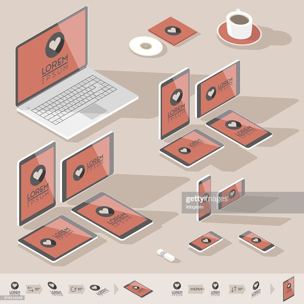 Isometric corporate identity template : Vector Art
