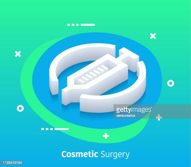 isometric cosmetic surgery vector web banner & icon design - collagen stock illustrations