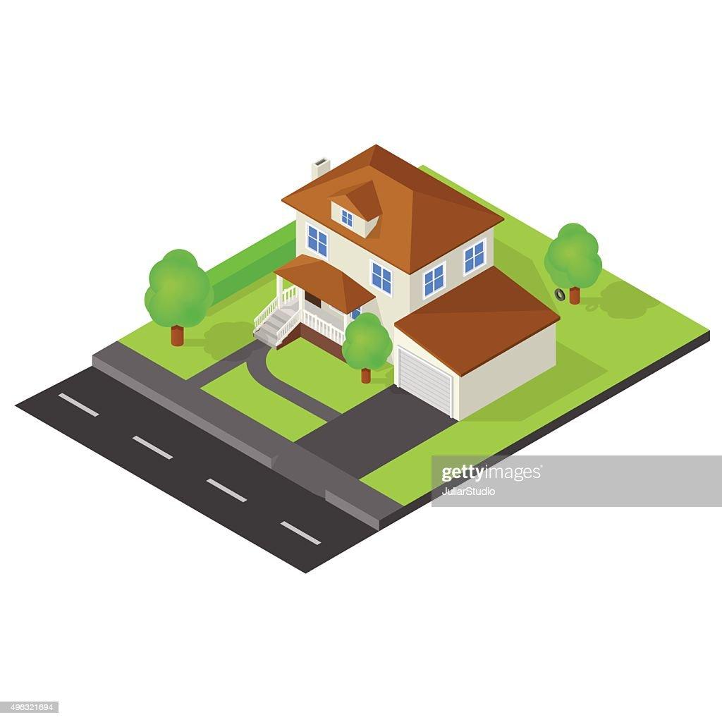 Isometric cottage icon