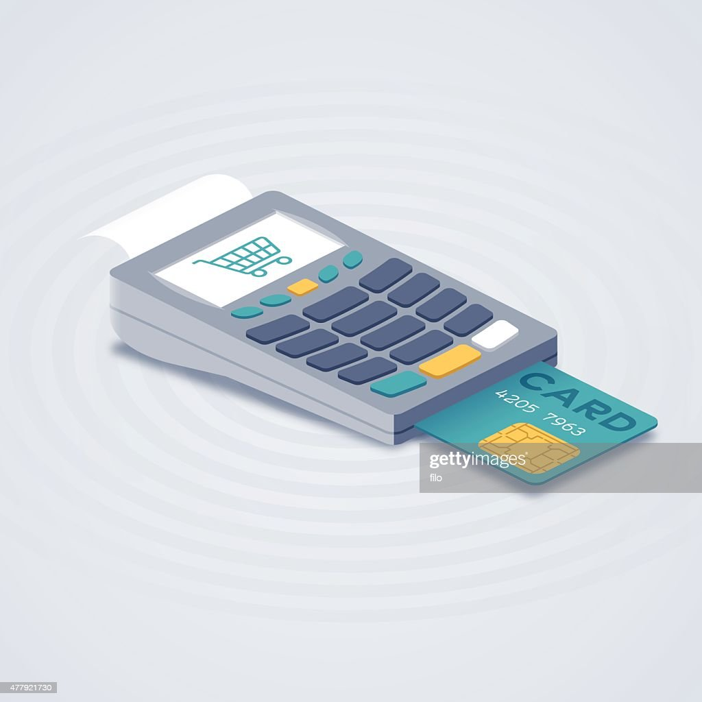 Isometric Credit Card Reader Purchase System : Stock Illustration