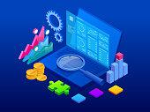 Isometric CRM web banner. Customer relationship management concept. Business Internet Technology vector illustration