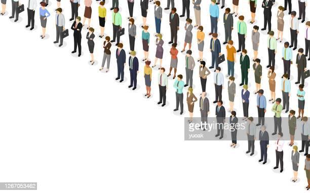 illustrations, cliparts, dessins animés et icônes de foule isométrique de personnes - collègue