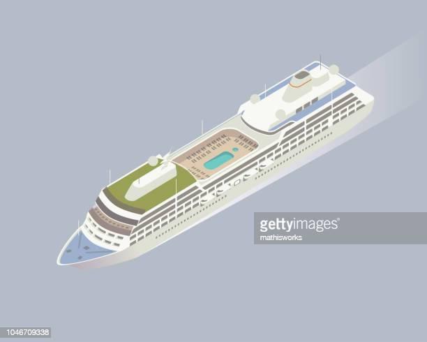 Isometric cruise ship illustration