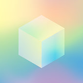 Isometric cube on soft color background