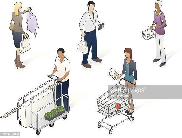 isometric kunden illustrationen - dreiviertelansicht stock-grafiken, -clipart, -cartoons und -symbole