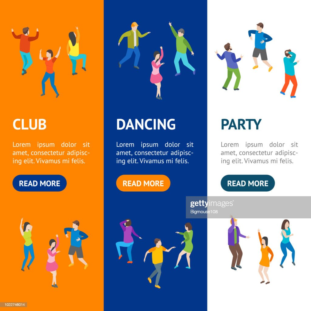 Isometric Dancing People Banner Vecrtical Set. Vector