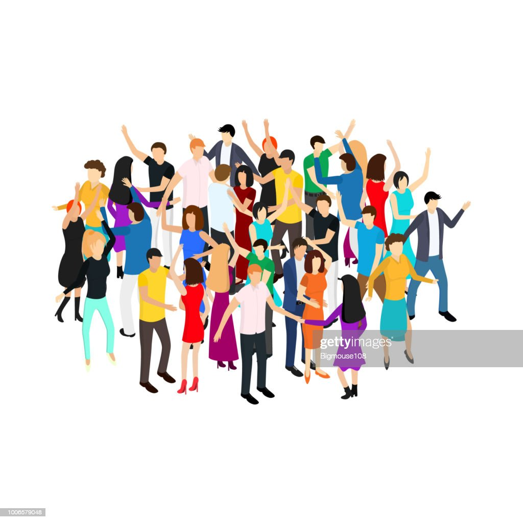 Isometric Dancing People Characters Crowd Circle. Vector