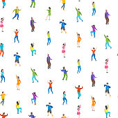 Isometric Dancing People Characters Seamless Pattern Background. Vector