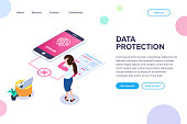 Isometric data protection Concept. Error access to files by fingerprint. Small people next to a large mobile phone and document. Vector illustration isolated on white background.