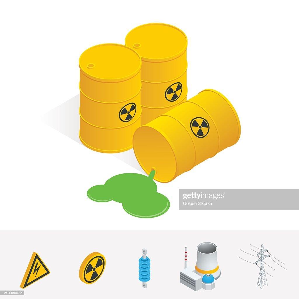 Isometric Debris Atomic Energy. Danger radiation