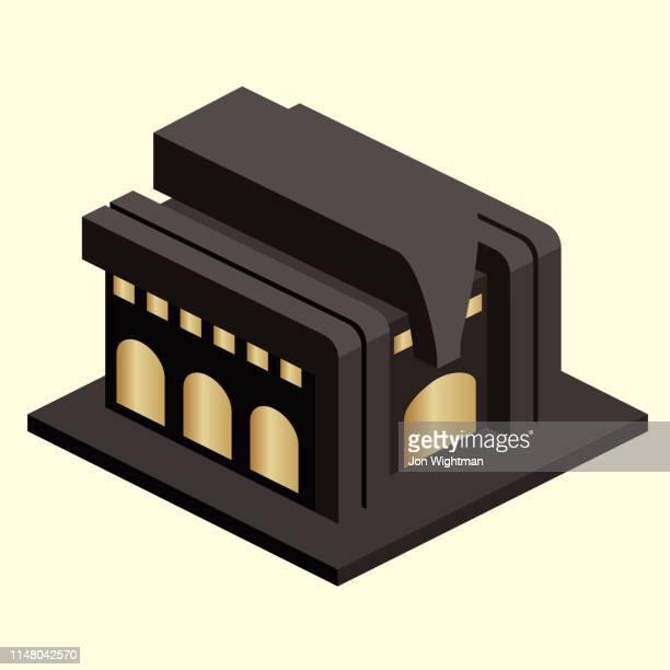 isometric deco building - gatsby image stock illustrations