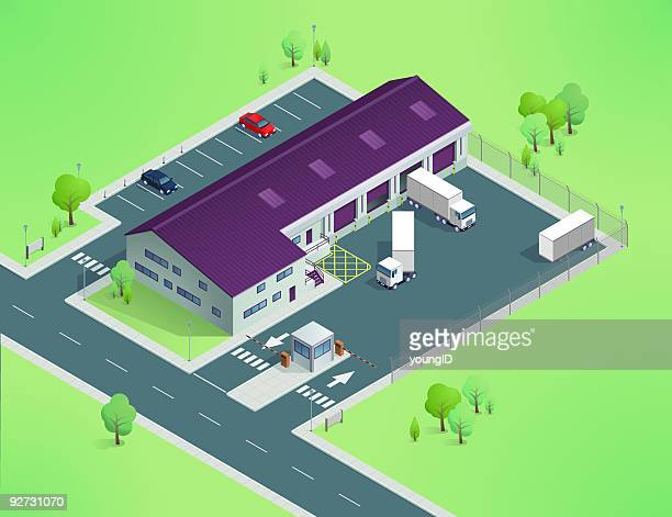 isometric delivery depot - chainlink fence stock illustrations