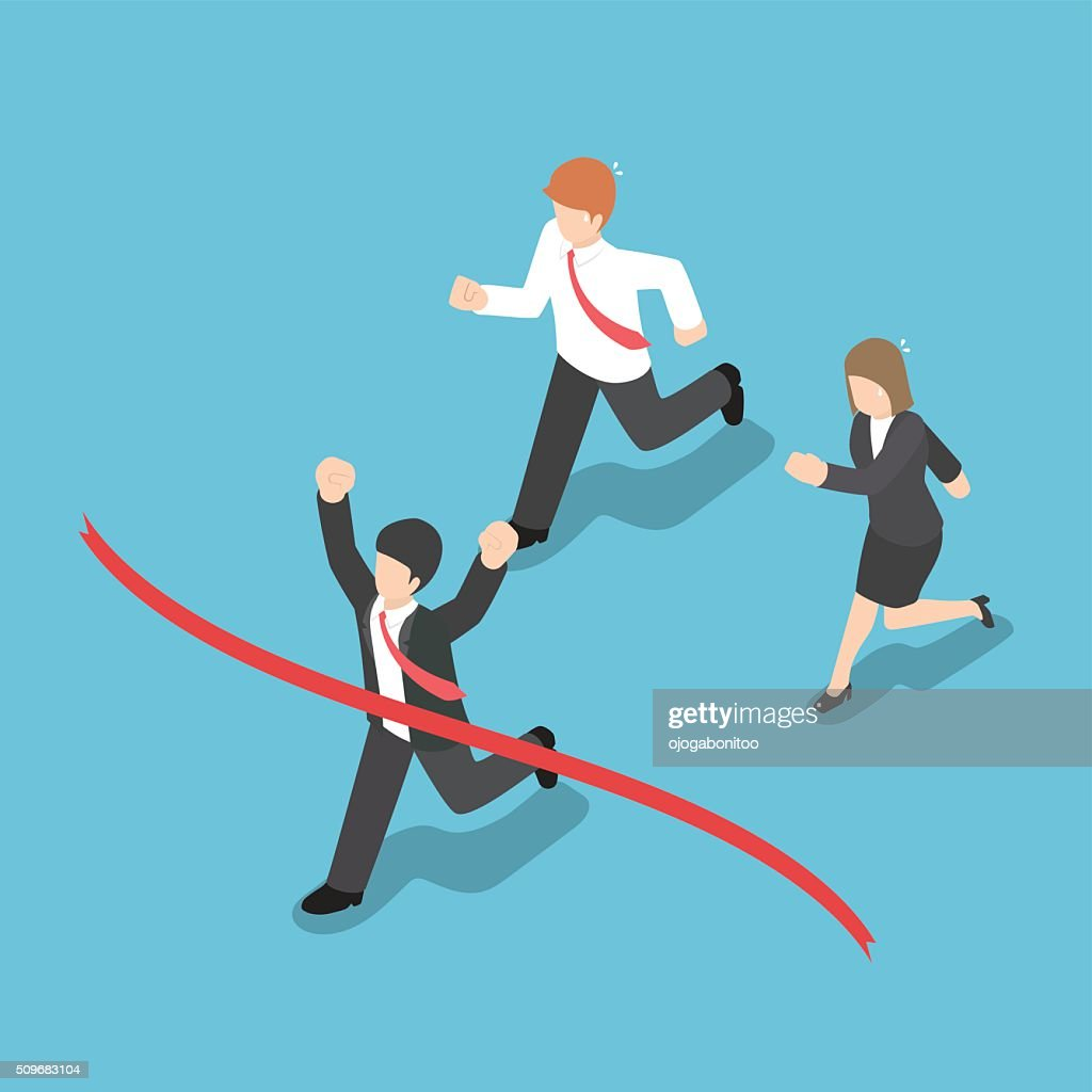 Isometric design businessman winning competition and crossing th