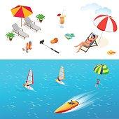Isometric design set Summer holiday elements