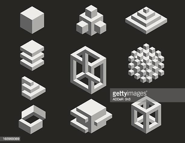 isometric designs - cube stock illustrations