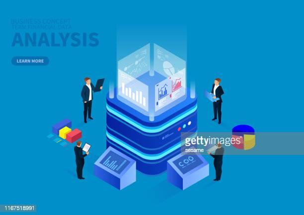 isometric digital monitoring and infographic analysis - big data stock illustrations