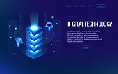Isometric digital technology web banner. Analysis and Information. Big data access storage distribution information management and analysis.
