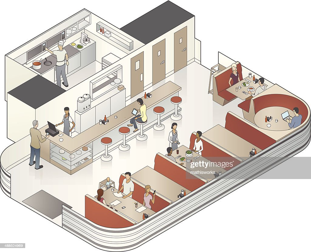 Isometric Diner Cutaway Illustration : Vector Art