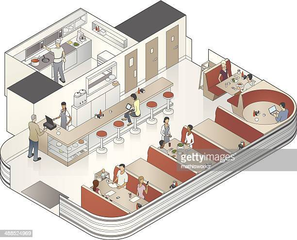 isometric diner cutaway illustration - cutaway drawing stock illustrations