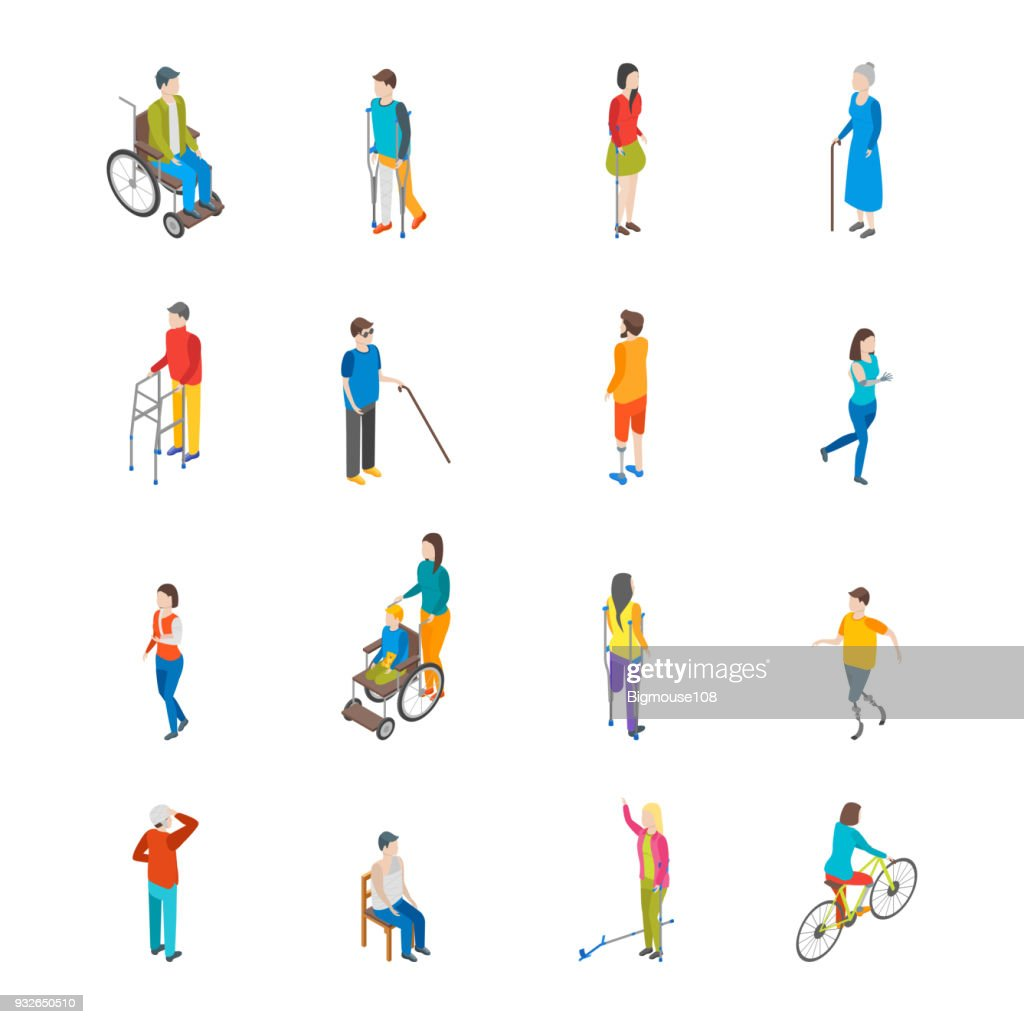Isometric Disabled People Characters Icon Set. Vector
