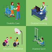 Isometric Disabled People. Disability Care, Wheelchair Basketball, Disabled Sport
