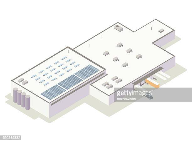 isometric distribution center illustration - mathisworks architecture stock illustrations