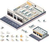 Isometric DIY supermarket interior plan