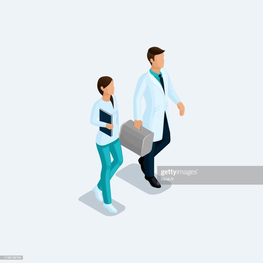 Isometric Doctor surgeon and nurse, hospital staff isolated on a light background. Vektor illustration