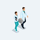 Isometric Doctor surgeon and nurse, hospital staff isolated on a light background. Vektor illustration