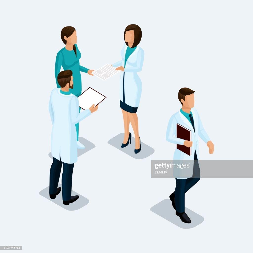 Isometric Doctor surgeon and nurse, hospital staff konsillium isolated on a light background. Vektor illustration