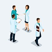 Isometric Doctor surgeon and nurse, hospital staff konsillium isolated on a light background. Vektor illustration