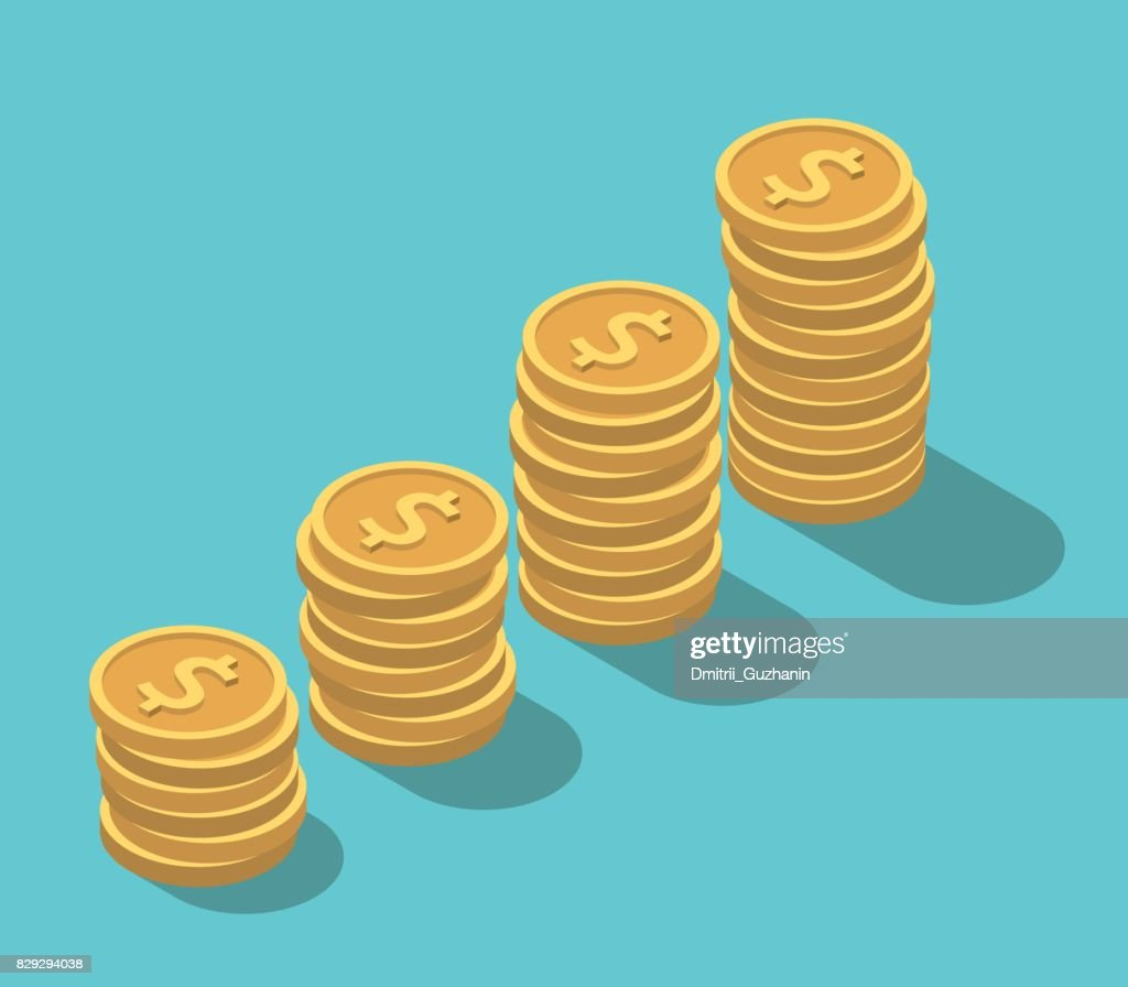 Isometric dollar coins stacks