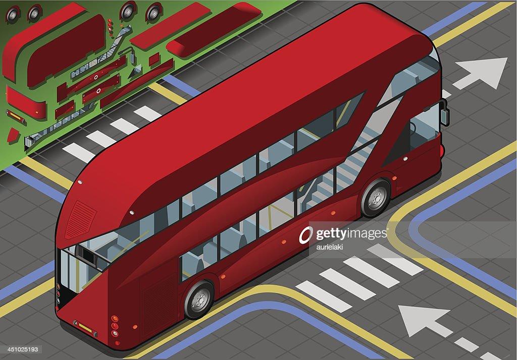 Isometric Double Decker Bus in Rear View