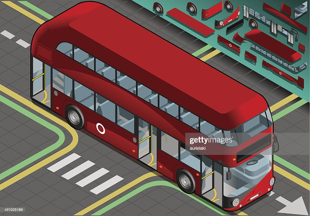 Isometric Double Decker Bus with Open Doors in Front View