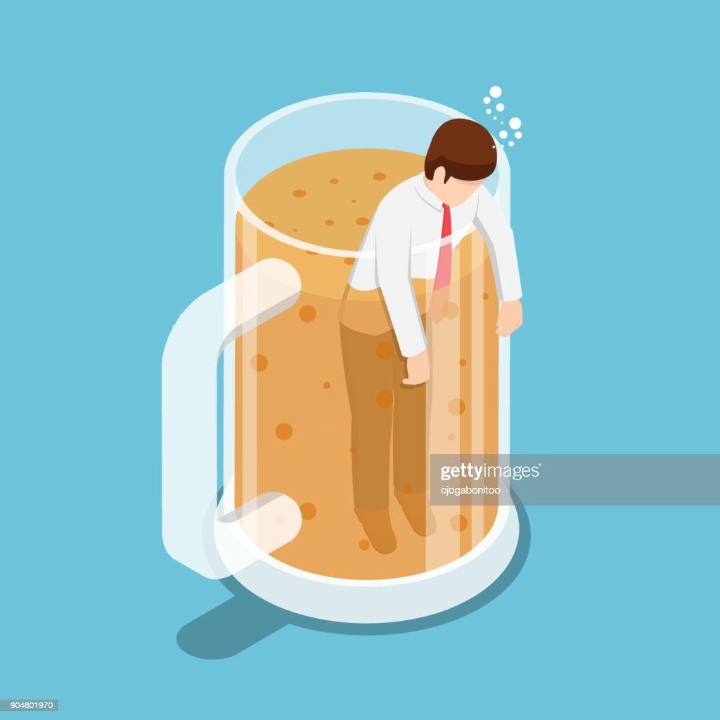 Isometric drunk businessman in beer mug.
