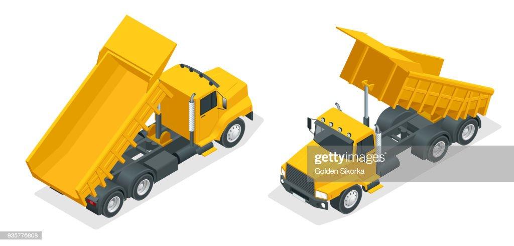Isometric dumper truck, excavator, dump truck isolated.