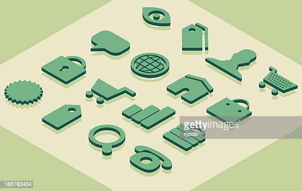 Isometric e-commerce-Symbole