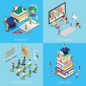 Isometric Educational Concept. Online Education, Online Library, Graduation with Cap