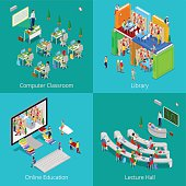 Isometric Educational Concept. University Computer Classroom, Online Education, Library