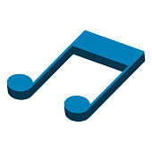 Isometric eighth musical note. Beamed note